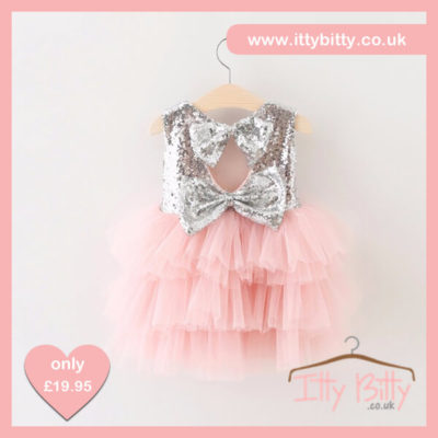Itty Bitty Christmas Silver Sparkle & Pink Dress