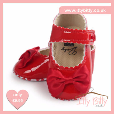 Itty Bitty Red Soft Sole Baby Girl First Walkers Shoes
