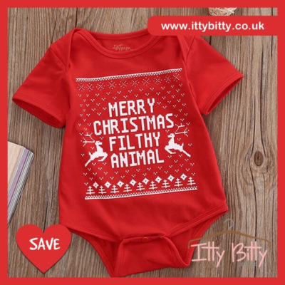 Itty Bitty Merry Christmas Filthy Animal Romper