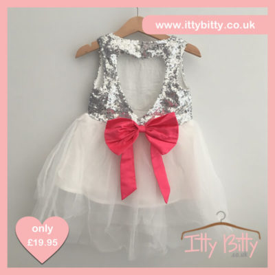 Itty Bitty Silver Christmas Sparkle Bow Dress