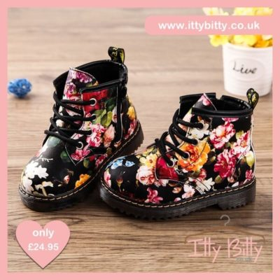 Itty Bitty Limited Edition Black Floral Fashion Print Girls Boots