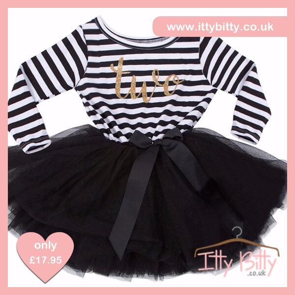 Itty Bitty Black & White second Birthday Tutu Dress