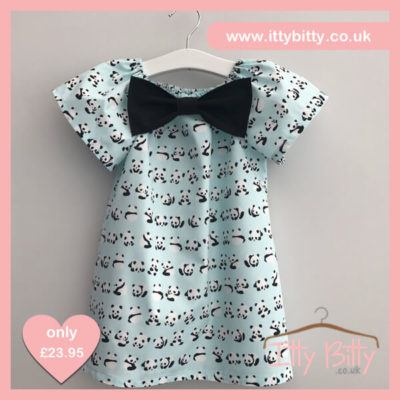 Itty Bitty Handmade Panda Bow Dress