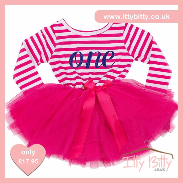 Itty Bitty Dark Pink White First Birthday Tutu Dress