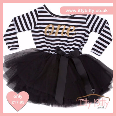 Itty Bitty Black & White First Birthday Tutu Dress