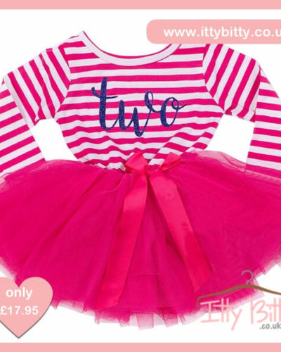 Itty Bitty Dark Pink & White second Birthday Tutu Dress
