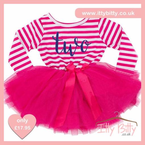 Itty Bitty Dark Pink & White second Birthday Tutu Dress