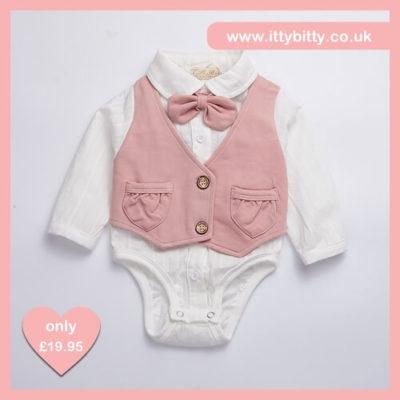 Itty Bitty Boys Pink Waistcoat & Bow Tie Smart Set