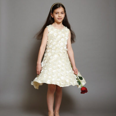 Disney Boutique Belle Cream Floral with Gold Shimmer Dress