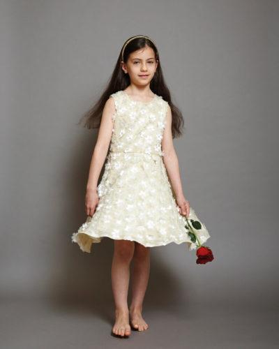 Disney Boutique Belle Cream Floral with Gold Shimmer Dress
