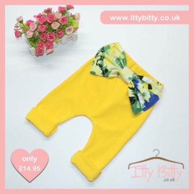 Itty Bitty Cotton Candy Yellow Bow Leggings