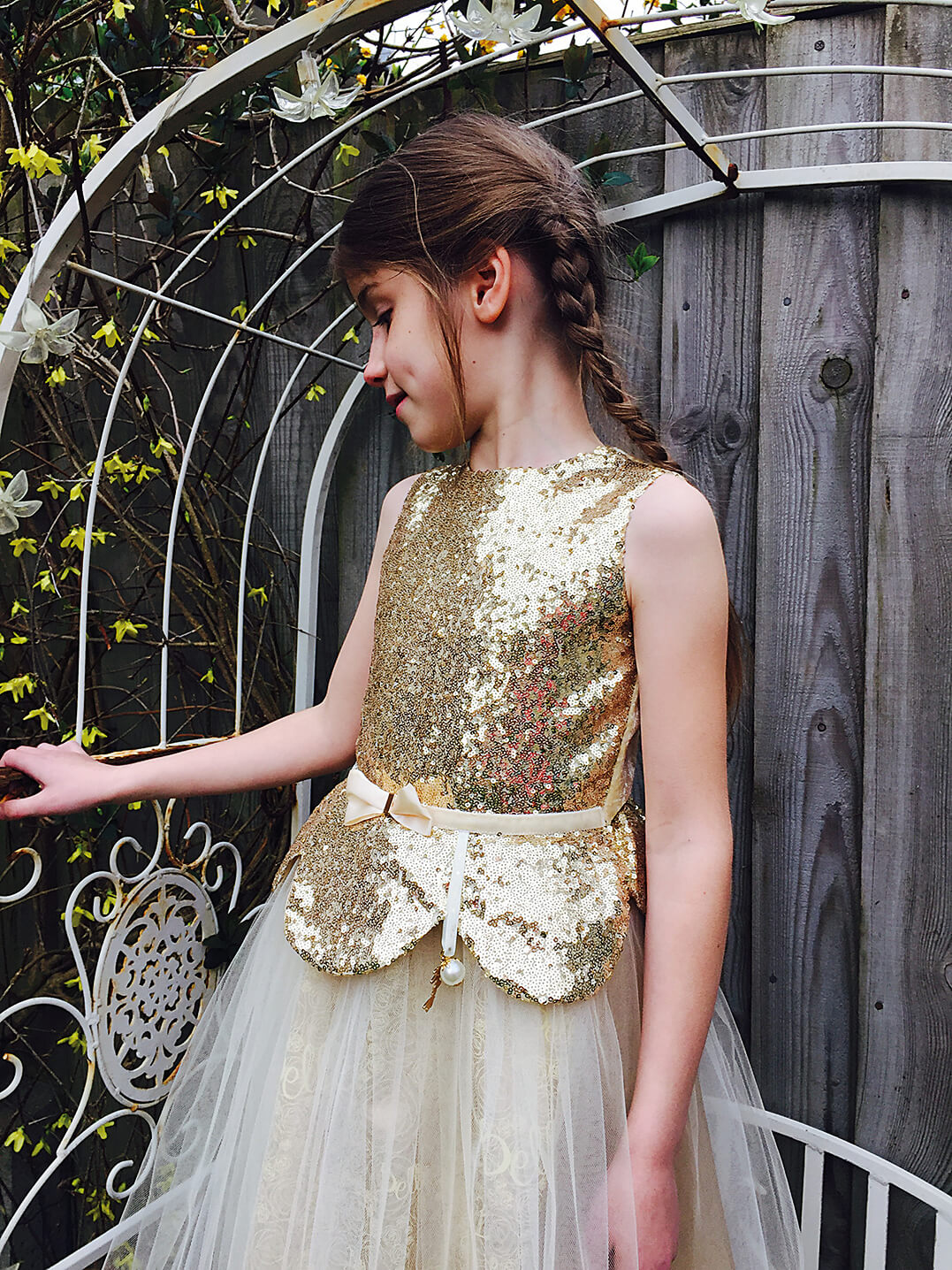 Disney Boutique Collection Belle Gold Sequin & Tulle Dress