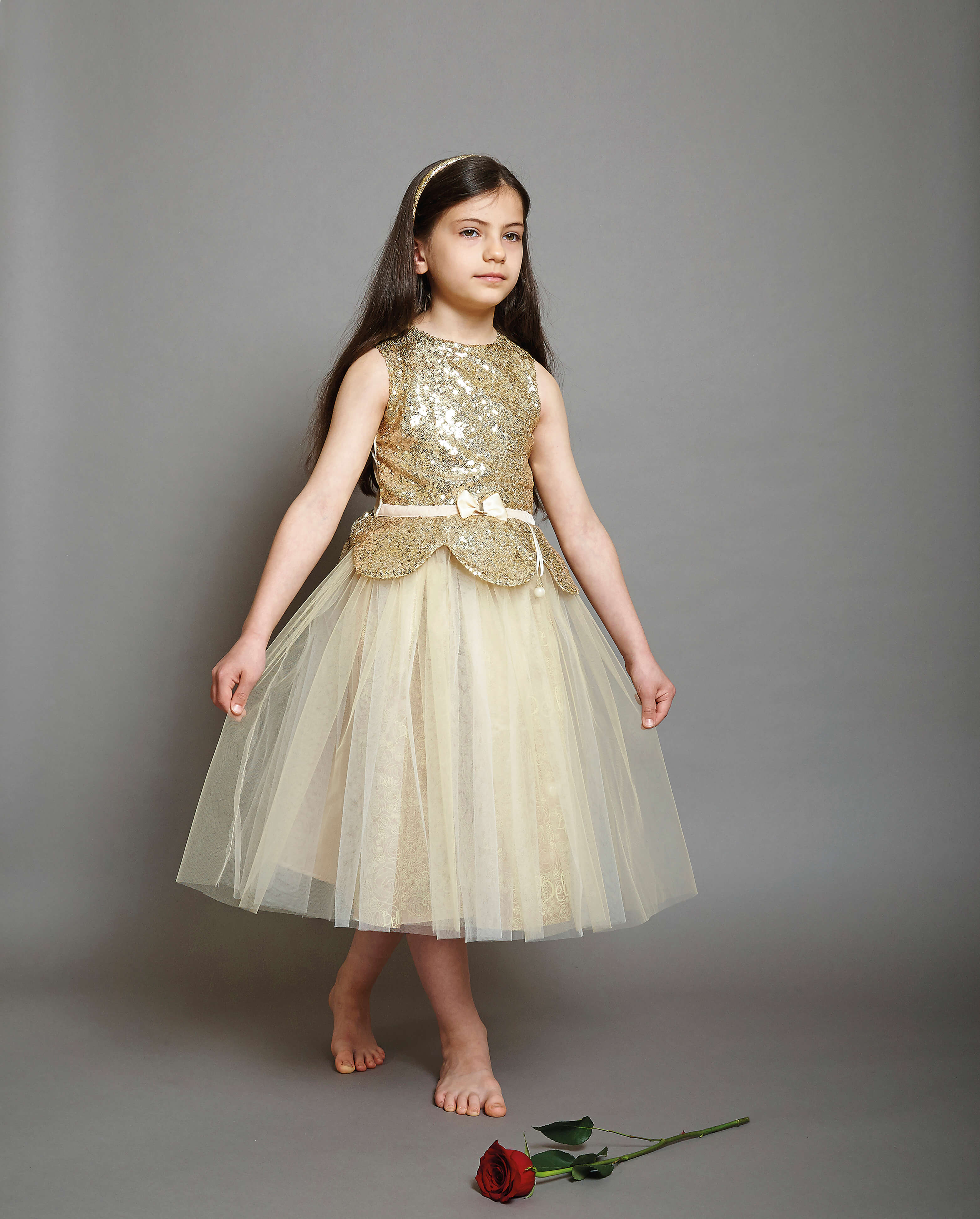 Disney Boutique Belle Gold Sequin & Tulle Dress