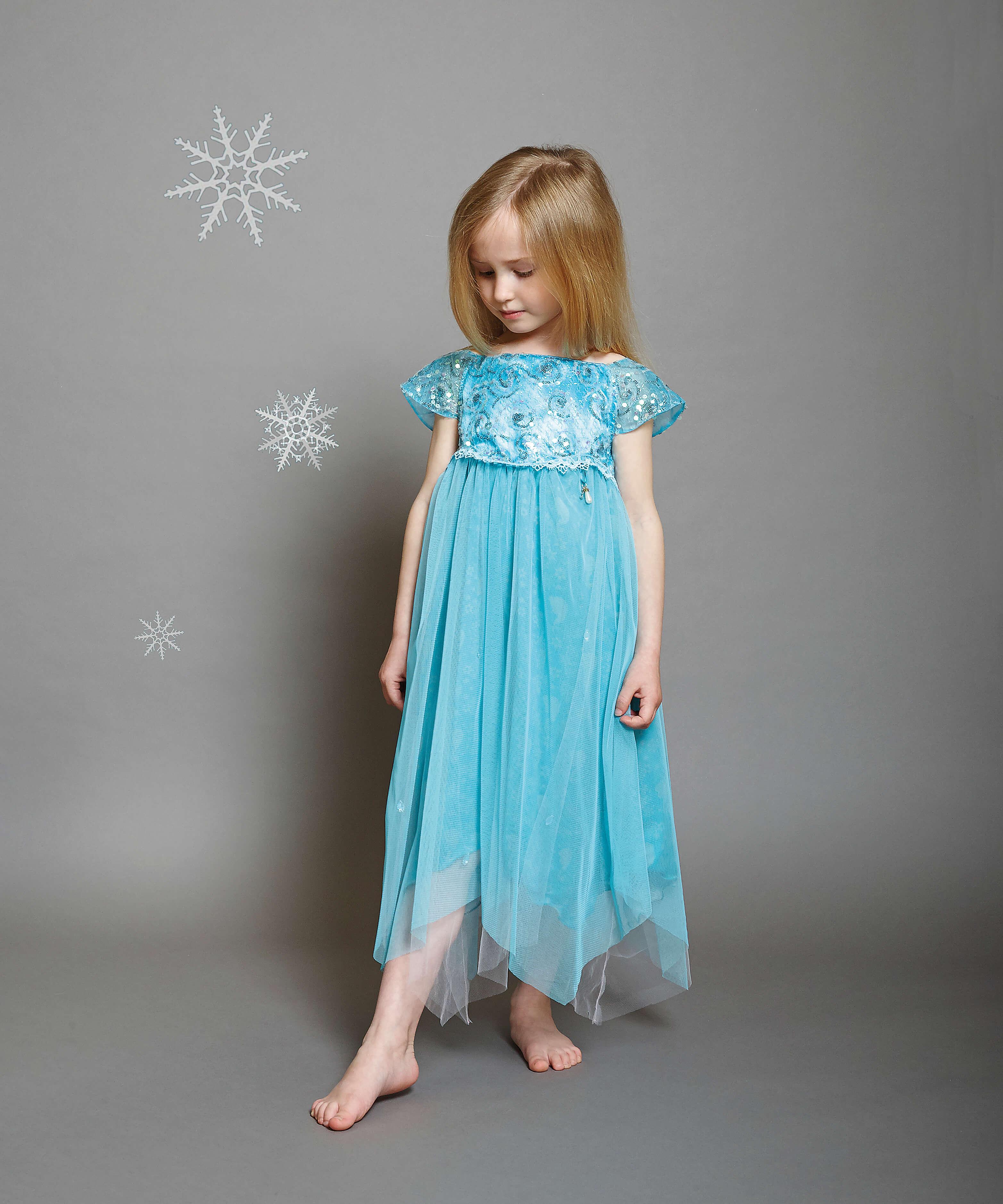 Disney Boutique Collection Elsa turquoise swirl seqin Dress