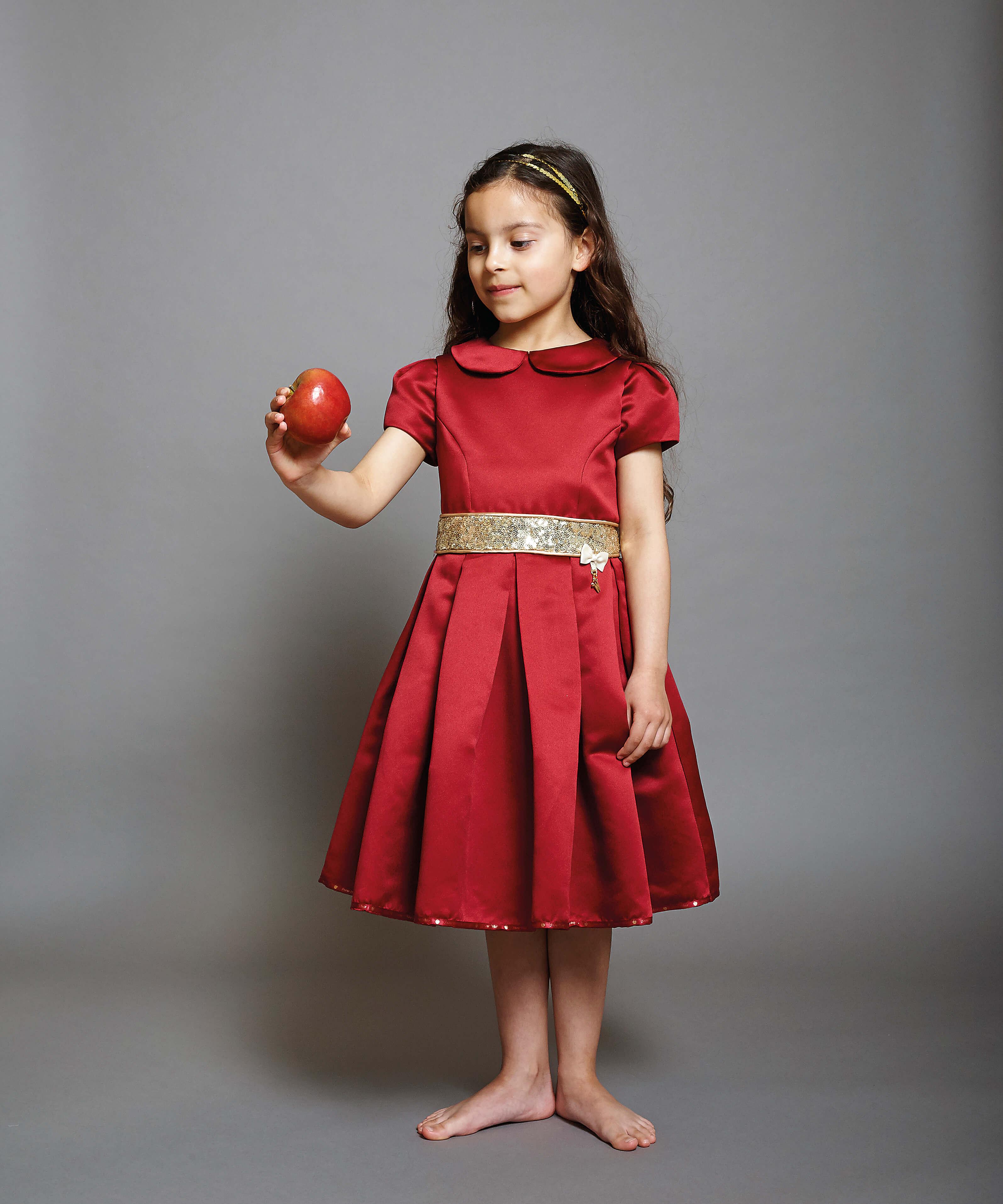 Disney Boutique Girls Snow White Red duchess satin & gold Dress