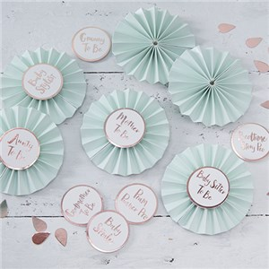 Itty Bitty Baby Shower Hello World Rose Gold Badge Kit