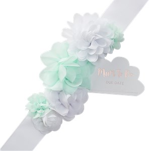 Itty Bitty Baby Shower Hello World Mother To Be Fabric Sash