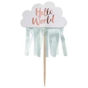 Itty Bitty Baby Shower Hello World Rose Gold Cupcake Picks