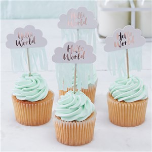 Itty Bitty Baby Shower Hello World Rose Gold Cupcake Picks