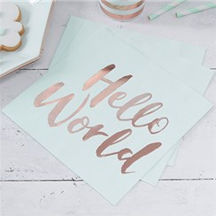 Itty Bitty Baby Shower Hello World Rose Gold Foil Paper Napkins