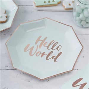 Itty Bitty Baby Shower Hello World Rose Gold Foil Plates - 25cm Paper Party Plates