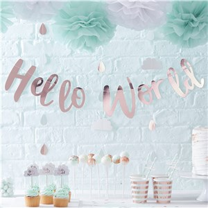 Itty Bitty Baby Shower Hello World Rose Gold Letter Bunting