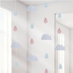 Itty Bitty Baby Shower Hello World Rose Gold Raindrop Hanging Decoration