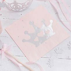 Itty Bitty Party Princess Perfection Silver Foiled Napkins
