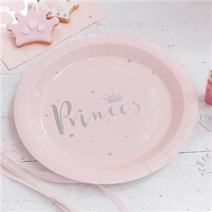 Itty Bitty Party Princess Perfection Silver Foiled Paper Plates