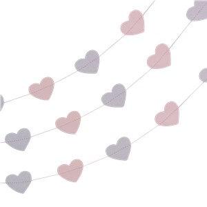 Itty Bitty Party Princess Perfection Silver Glitter Heart Garland - 5m