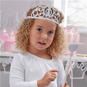 Itty Bitty Party Princess Perfection Silver Glitter Paper Tiaras