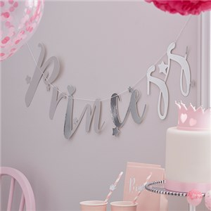 Itty Bitty Party Princess Perfection Silver 'Princess' Paper Bunting
