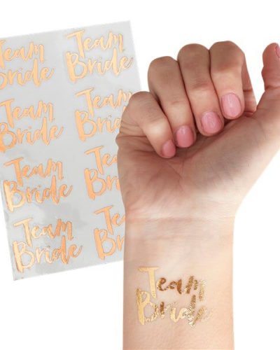 Itty Bitty Team Bride Rose Gold Team Bride Temporary Tattoos