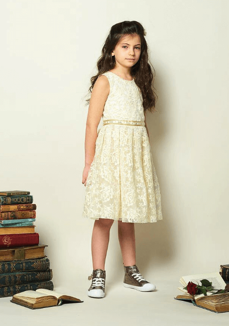 Disney Boutique Collection Belle – Cream Embroidered Roses with Pleated Skirt