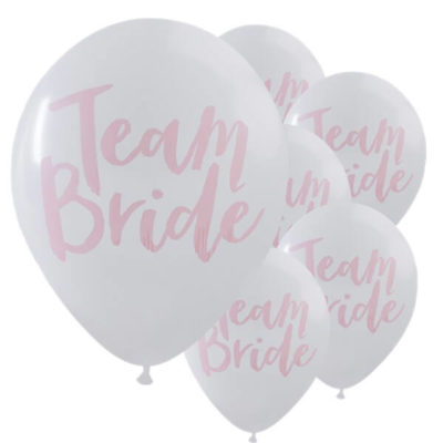 "Itty Bitty Team Bride White & Pink Hen Party 12"" Balloons"
