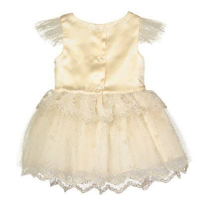Disney Boutique Collection Beauty and the Beast Belle Baby & Child Gold Embroidered Mesh Dress