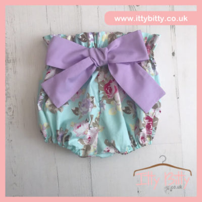 Itty Bitty Handmade Lila statement bow bloomer shorts