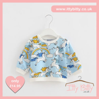 Itty Bitty Magic Unicorn Blue Summer Jumper