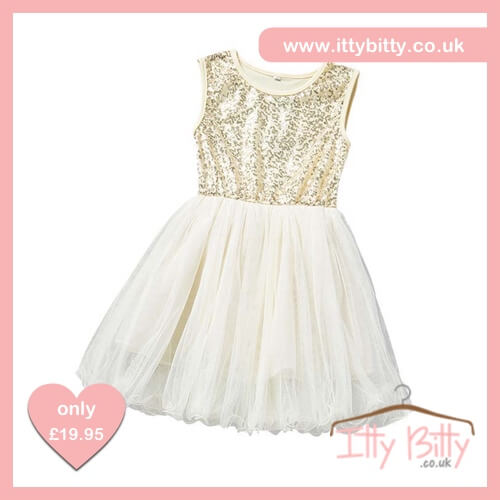 Itty Bitty Gold Summer Sequin Princess Party Tutu Dress