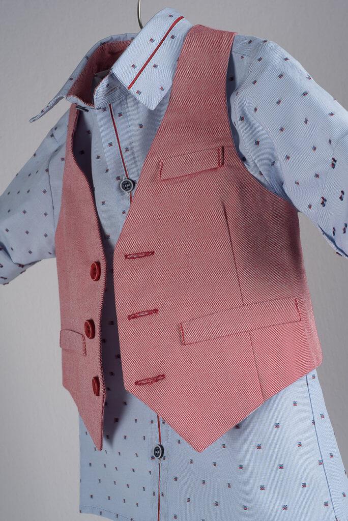 Light blue cotton shirt with micro design