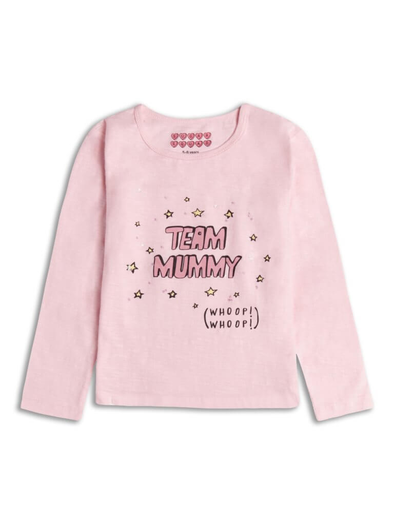 Itty Bitty Team Mummy Pink Long Sleeve Top