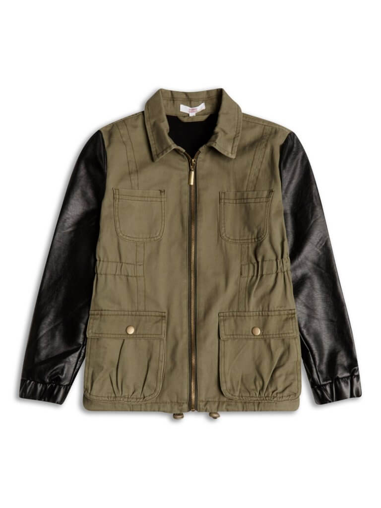 Itty Bitty Green Jacket with FauxBlack Leather Sleeves