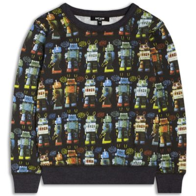 Boys Boutique Black Cool Noisy Robot Sweatshirt