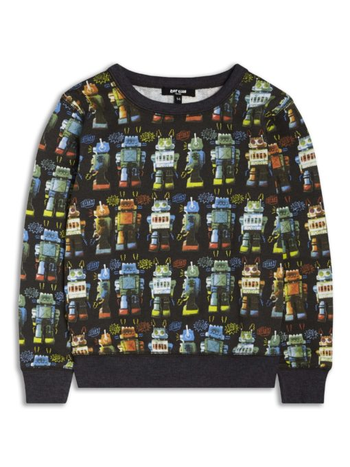 Boys Boutique Black Cool Noisy Robot Sweatshirt
