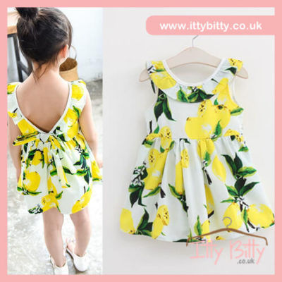 Itty Bitty Summer Ready Lemon Bow Dress