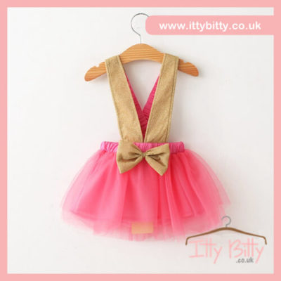 Itty Bitty Pink & Gold Fashion Bow Tutu