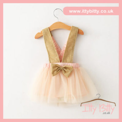 Itty Bitty Nude & Gold Fashion Bow Tutu