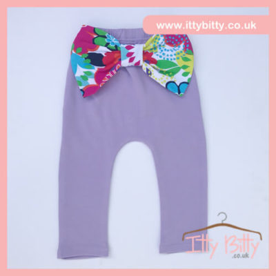 Itty Bitty Cotton Candy Purple Bow Leggings