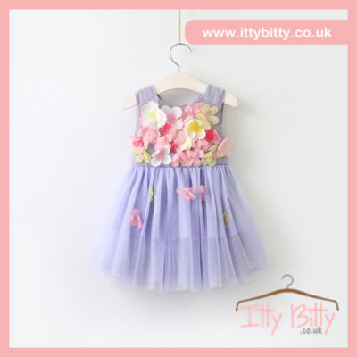 Itty Bitty Purple Flower Power Bow Dress