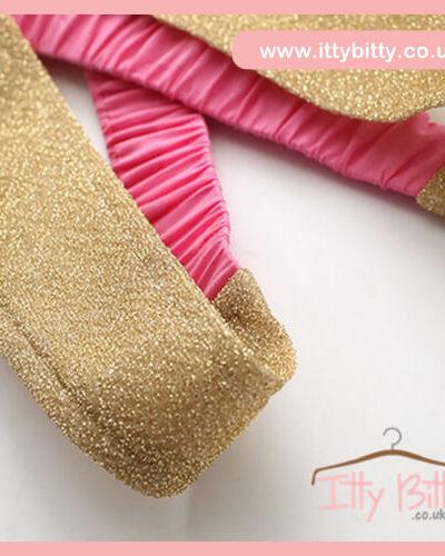 Itty Bitty Pink & Gold Fashion Bow Tutu